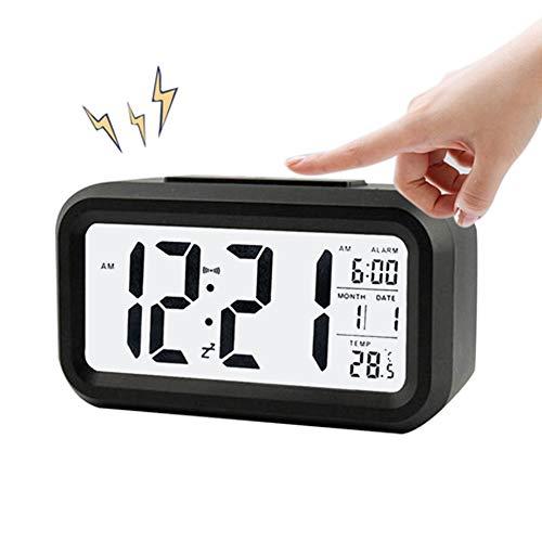 AISOO Despertadores Digitales, Reloj Despertador LCD Digital, Multi-Funciones Alarma Inteligente Muestra Hora, Temperatura, Fecha Silencioso para Viejos Niños en Casa Oficina (Negro)