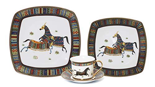 EURO Porcelain 75-pc. Horse Cheval Large Dinner and Sushi Set, Luxury Gallery Quality Banquet Service for 6, Bone China Dinnerware