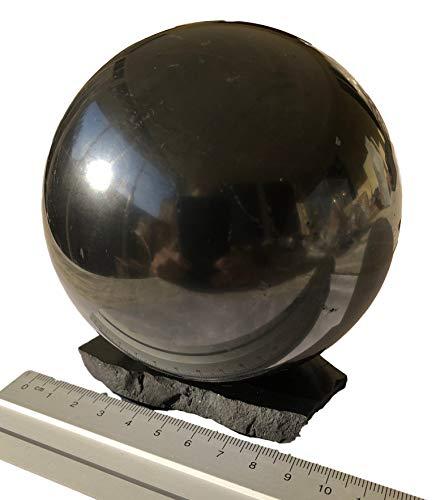 Bola de shungite gigante de 8 cm de diámetro con base de shungita, piedra curativa grande, piedra de shungite