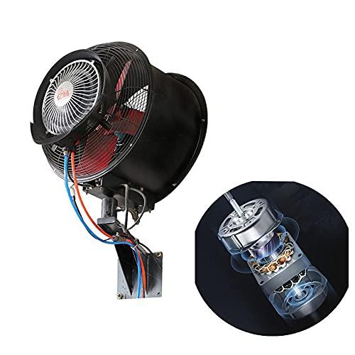FUFU Climatizadores evaporativos 230W Gran Ventilador de nebulamiento oscilante con un Resistente Montaje de Pared Ventilador, Ventilador versátil Rango de enfriamiento: 3-12 ° C Ideal para localizas