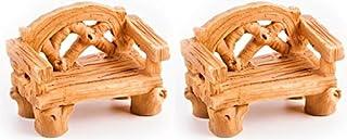 مقاعد صغيرة واقعية من الخشب بمقاس 3.81 سم × 5.08 سم - مصنوعة من الراتنج - للديكور الخارجي أو المنزل أو أثاث بيت الدمى - حز...