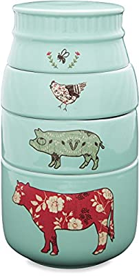 Pavilion Gift Company 23130 Live Simply Bee Chicken Pig and Cow Measuring Cups, Teal by Pavilion Gift Company