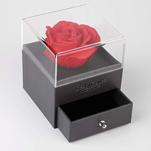 Mitening Rosen Box, Echte Rose Rot mit Liebe Sie Halskette Schmuck Geschenkbox-Handmade Eternal Real Rose zum Valentinstag Muttertag oder Jubiläum Hochzeit Geburtstag romantische Geschenke für Sie