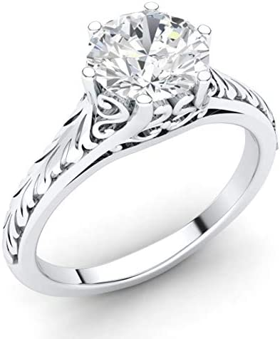 Diamondere Natural and IGI Certified Diamond Solitaire Engagement Ring in 14K White Gold 0 58 product image
