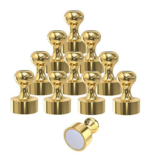 TRAYBRAY Magnet Magnete Metal 12 * 16mm Push Pin Magnete Perfekt für Kühlschrank Pinnwand DIY mit Aufbewahrungsbox - 12 Stücke (Gold)
