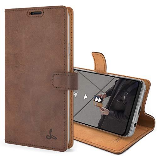 Snakehive S9 Schutzhülle/Klapphülle echt Lederhülle Kartenfach mit Standfunktion, Handmade in Europa für Samsung Galaxy S9 (Braun)
