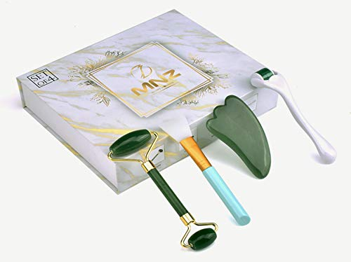 2020 MNZ 100% Natural Jade Roller For Face & Gua Sha Scraping Tool | Mask Brush | 4 In 1 Beauty-Kit For Face, Neck and Eyes - Wrinkles, Puffiness & Dark Circles