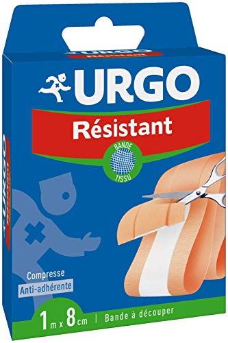 Urgo - Bande à découper Résistant - Bande en tissu - Compresse anti-adhérente - 1mx8cm