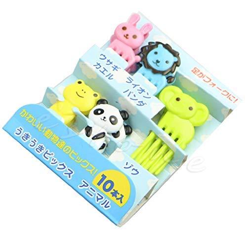 10Pcs Food Picks Forks Animal Fruit Food Picks for Bento Box Lunch Box Animal Mini Cartoon Food Toothpicks for Kids