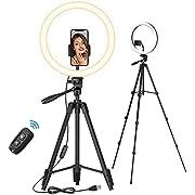 """TONOR 12"""" Großes Selfie Ringlicht mit Ständer für Handy, LED Kreislicht mit Bluetooth Auslöser Phone Halterung für Zoom TikTok Makeup YouTube Vlog Stream Meeting, kompatibel mit iOS/Android (TRL-20)"""
