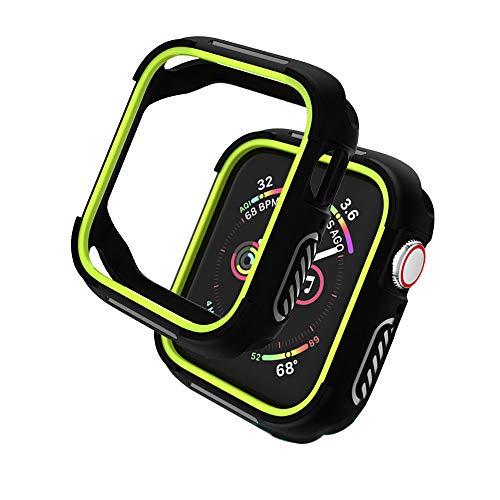 KTcos Compatibile con Apple Watch Bumper 44mm Cover,Custodia Protettiva Robusta Custodia Protettiva Antiurto Antiurto per Apple Watch Series 4 (44mm, Nero/Giallo)