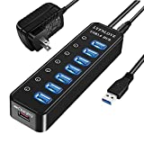 LYFNLOVE Powered USB Hub 3.0 Splitter,7 Port USB Data Hub with Power Adapter and One Charging Port,Individual On/Off Switches and Lights for Laptop, PC, Computer, Mobile HDD, Flash Drive and More