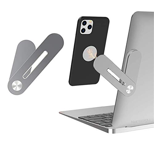 Nanssigy Laptop Phone Holder - Magnetic Laptop Stand Computer Monitor Expansion Bracket, Adjustable Mount,Aluminum Alloy Portable Foldable Phone Stand for Laptop Same Screen Improve Office Efficiency