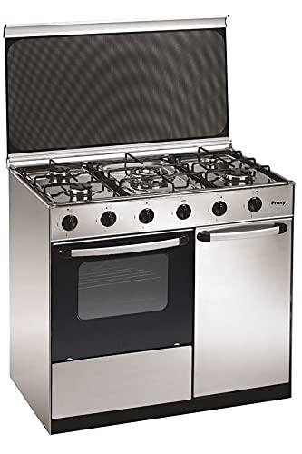 Cocina portabombona 90 cm de ancho con horno PROXY, color inox, 5 fuegos (incluye 1 Triple Fuego) y horno con grill a gas (butano o natural).