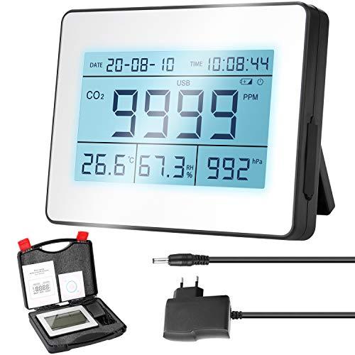 Kohlendioxid Detektor KKmoon CO2 Messgerät 0-9999 PPM Lufttemperatur Luftfeuchtigkeit Luftdruckerkennung Perpetual Calendar Time Display Function mit Hintergrundbeleuchtung LCD