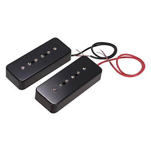 Sbeautli Single Coil Tonabnehmer for P90 E-Gitarren-Neck Bridge Pickups Gitarrenteile Zubehör, Packung 2 Stück (50 mm + 52 mm) Musikinstrumententeile Ersatzteile (Color : Black)