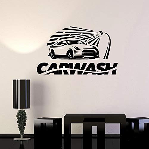 Tianpengyuanshuai Lavage de Voiture Film Mural Garage Garage Service Vinyle fenêtre Verre Autocollant Amovible étanche décoration Murale Mot créatif 102x61 cm