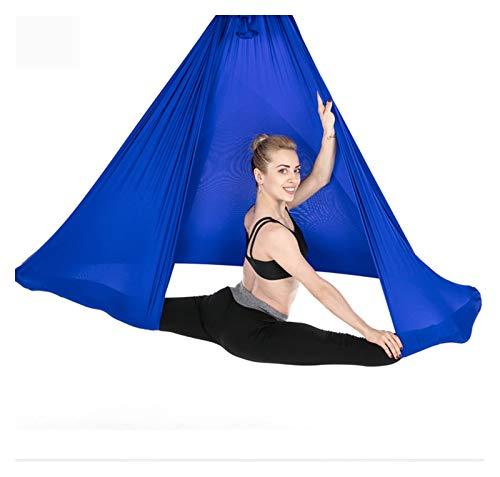 Yoga sling wall hanging suspension gymnastics ring Yu Jia Sheng aerial yoga hammock swing yoga Advanced Air Silk Anti-Gravity Yoga Wall bracket for hanging belt (Color : Deep Blue)