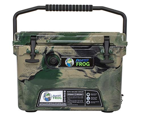 Frosted Frog Green Camo 20 Quart Ice Chest Heavy Duty High Performance Roto-Molded Commercial Grade Insulated Cooler