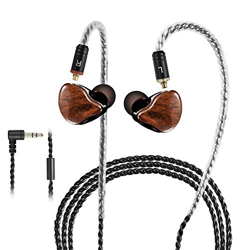 in Ear Monitor,DCMEKA Dynamic Hybrid Wired Earbuds, Dual Driver in-Ear Earphones Musicians in Ear Headphones with MMCX Detachable Cables, Noise-Isolating Earbuds, HiFi Stereo (Wood Grain)