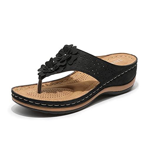 Sandalias de mujer para verano, ligeras, modernas, cómodas, para la playa, al aire libre, senderismo, jardín, para uso diario, para yoga, para estar por casa, Negro , 42 EU