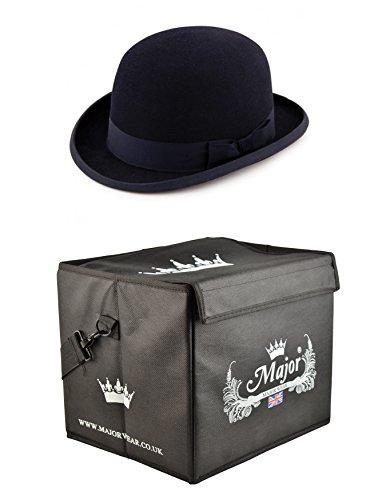 Major Wear Major Tragen schwarz Wollfilz steif Bowler Hat Satin gefüttert mit Hat Box, Schwarz 61cm xlarge