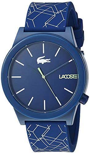 Lacoste Men's Motion Stainless Steel Quartz Watch with Silicone Strap, Blue, 19.7 (Model: 2010957)