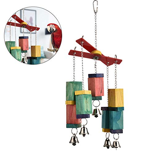Vogelspeelgoed, spelen voor parkieten die op hangende schommels kauwen