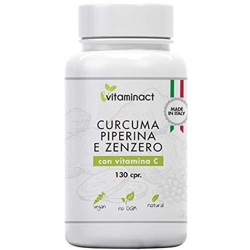 Curcuma Piperina Plus Zenzero Vitamina C-130 cpr-Altissimo Dosaggio Naturale Di Estratto Curcuma 1280,00Mg-Curcumina 200,00Mg-Piperina 10,00Mg-Potente e Veloce Brucia Grassi-Antinfiammatorio