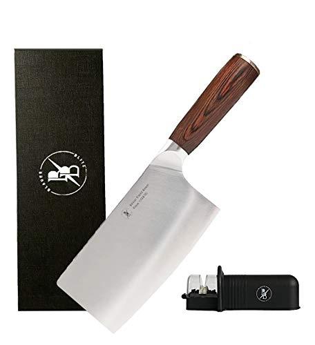 BlauerBlitz® Mainzer Klassik Chinesches kochmesser Hackmesser, 18cm Klinge Hackbeil Messer inkl. Messerschärfer, aus Deutschem Edelstahl, hochwertiges Pakkaholz,rostfrei, extra scharfes Küchenmesser