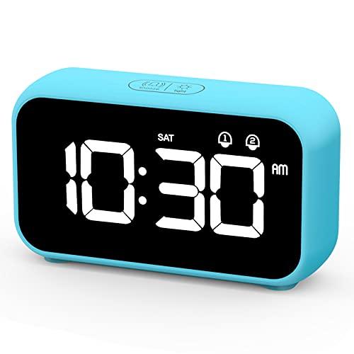 HOMVILLA Despertadores Digitales, Reloj Despertador Digital, Mini Reloj Digital Despertador, Alarma de Espejo Portátil, Alarma con Doble Tiempo de Repetición 4 Niveles de Brillo Regulable (Azul)
