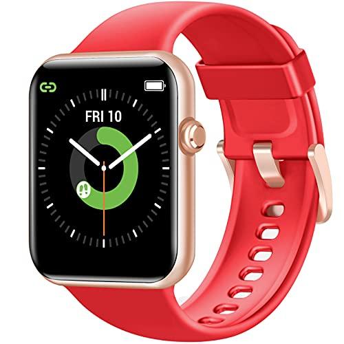 Letsfit IW2 Smartwatch, 1.55 Zoll Full-Touch Fitnessuhr mit Schrittzähler Schlaf Herzfrequenz und Blutsauerstoffüberwachung, 5ATM Wasserdicht Sportuhr für Damen Herren, für iOS und Android, Rot