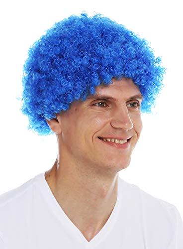 WIG ME UP- MMAM-9M-K2079 Peluca para Mujeres Hombres Carnaval Payaso Afro rizos Cortos densos Cabello Crespo Azul
