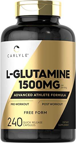 L Glutamine Capsules | 1500mg | 240 Count | Non-GMO, Gluten Free L-Glutamine Supplement | by Carlyle
