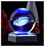 AIRCEE 3D Model of Galaxy Crystal Ball, with Led Lamp Stand, Planets Glass Ball, 6 Colors Light, Great Gifts, Educational Toys, Home Office Decor, Solar System Sphere with Gift Box