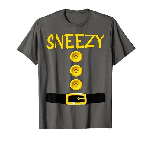 Sneezy Dwarf Halloween Costume Color Matching Bashful Dwarf T-Shirt