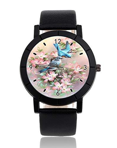 Reloj de pulsera personalizado con doble ala de pájaro, informal, correa de piel, color negro, para hombres y mujeres, unisex