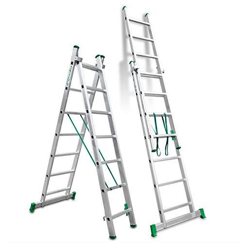 Escalibur | ES.DOBLE | Escalera de Aluminio | Escalera 7 Peldaños | 204x90x12 cm |Amplia base estabilizadora|Peldaños antideslizantes | Máxima seguridad| Fácil Transporte