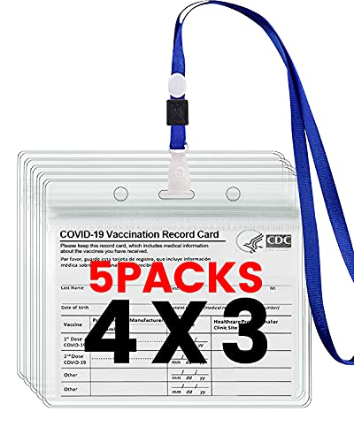 CDC Vaccination Card Protector, 4X3 in CDC Vaccine Card Protector Waterproof 5 Pack Clear PVC Badge Holders Plastic Waterproof Vaccine Card Sleeve Immunization Card 5 Pack