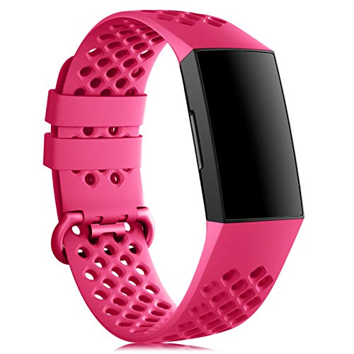 Onedream Correa Compatible para Fitbit Charge 3/ Charge 4/ SE Strap Hombres Mujeres, Suave Deportiva Silicona Ajustable Pulsera, Reemplazo Band Acesorio para Charge 3/ Charge 4 Pequeño Grande