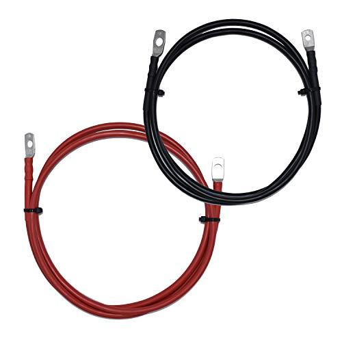 EBROM Batteriekabel rot und schwarz 12V Wunschlänge von 30cm bis 5m – Querschnitt: 25 mm² für Stromstärken bis 108A mit 2 x M8 Kabelschuh/Ringösen für Versorgungsbatterien und Traktionsbatterien 25mm2