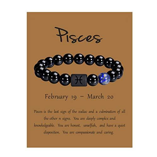 VLINRAS Zodiac Pisces Bracelet for Men Women Pisces Gifts Natural Black Onyx Stone Zodiac Charm Bracelet Constellation Horoscope Jewelry