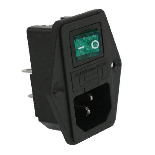 Viudecce Interruptor Enchufe Modulo con Lampara CA 10A 250V IEC320 C14 Entrada