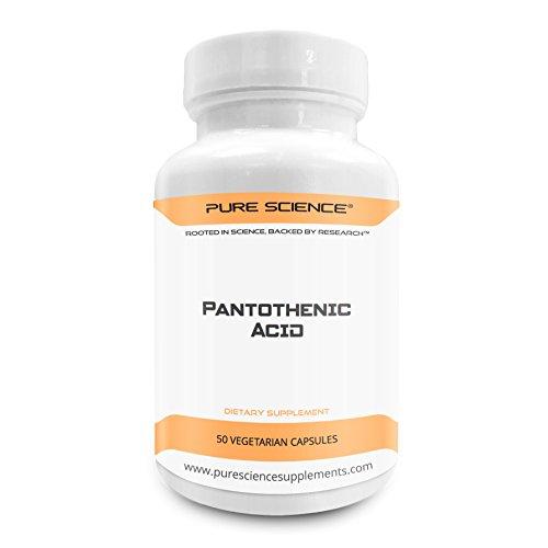 Pure Science Vitamina B5 acido pantotenico 500mg con 5mg BioPerine (Enhancer naturale di biodisponibilità per un migliore assorbimento) - 50 capsule vegetariane