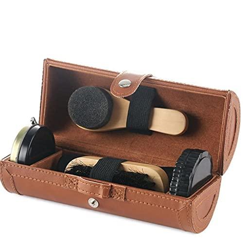NJBYX 6PCS Shoe Polish Care Kit Leather Shoe Shine Set Shoe Brushes Compact Shoe Cleaning Kit with PU Leather Case for Polishing