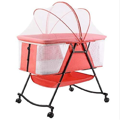 NBRTT Baby Crib, Side Rocking Newborn Bed, Bedside Sleeper Baby Bed, Adjustable Portable Cradle, Multifunctional Removable Infant, Travel Foldable Cradle Bed