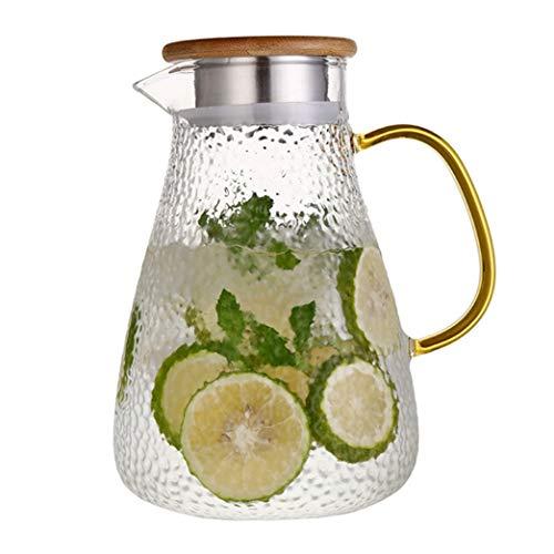 Jarra de vidrio de 65 onzas con tapa, jarra de té helado, jarra de agua para agua fría caliente, té, vino, café, leche y zumo jarra de bebidas