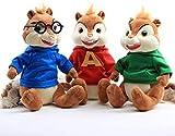 3 Piezas/Set 25cm Alvin y Las Ardillas 4 muñecos de Peluche, Lindo Peluche Rojo de Theodore Simon, Regalo para niños y Mujeres