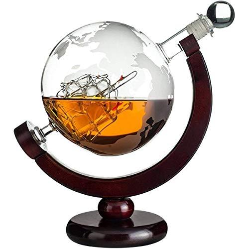 Whisiskey® Whiskey Karaffe - Globus - Whisky Karaffe Set - 900 ml - Geschenke für männer und frauen - Inkl. 9 Whisky-Steine und Geschenktülle