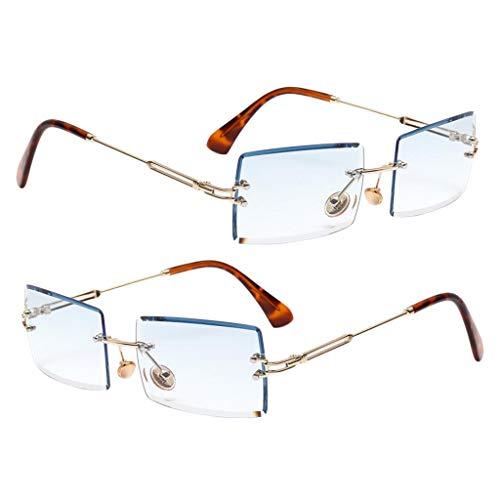 Milageto 2X Gafas de Sol Sin Montura con Corte Rectangular Elegante Lente Tintada Marco de Metal Gafas Azul